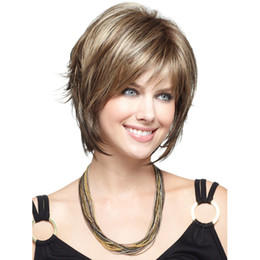 Woman's brown and ash blonde mix wig short straight hair HEAT - RESISTANT FIBER Quality Assurance