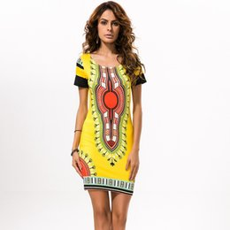 Wholesale 2016 Summer Dresses For Womens Sexy Mini African Traditional Sundress Ladies Dress Folk Art African Dashiki Dress Plus Size Casual Clothing