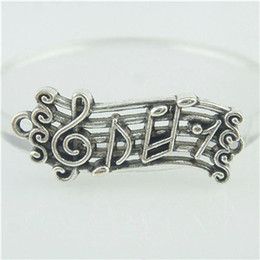 Wholesale 16414 Vintage Stave Staff Musical Note Sterling Silver Charm Fit Bracelet