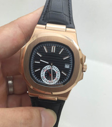 AAA quality automatic men's Nautilus Rose Gold watch 40mm black leather strap luxury brand cheap watches