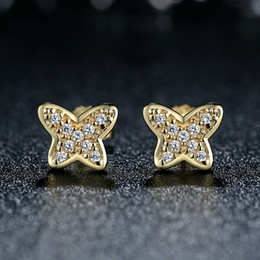 Genuine 925 Sterling Silver Petite Butterfly Stud Earrings with Clear CZ 14K Gold Push-back Party Earrings ER054