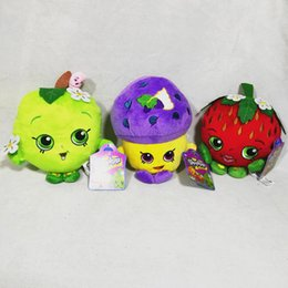 Wholesale 9 styles cm Shopping plush toys Shopping basket Strawberry apple Stuffed Animals cute fruit Plush Toys about inches With tag EMS C896