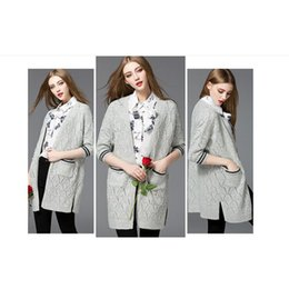 Wholesale 2016 Woman Knit Cardigan Long Length Hollow Out Plaid Striped Hem Fashion Knit Sweater Latest Sweater Designs For Girls A033