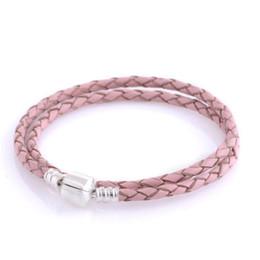 Pink Leather Bracelet 925 sterling silver fits pandora style bracelets any necklace European style