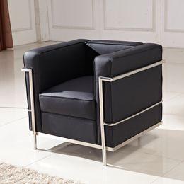 Wholesale Le Corbusier LC2 Petit Comfort Sofa Chair Genuine leather living room furniture conference room single sofa Audio visual room sofa sofa set