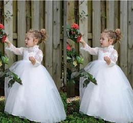 Lovely Flower Girl's Dresses White Ivory Lace Tulle Long Sleeves High Neck Ball Gown Little Girls Dresses For Wedding Party Custom Cheap