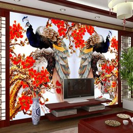 Charming Peacock Wallpaper 3D photo wallpaper Girls Bedroom Sofa TV Background Wall Mural Art Room decor wall paper Flowers & birds painting