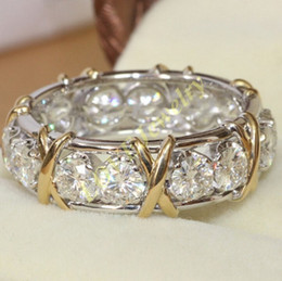 Brand Jewlery Women's 925 Silver Simulated Diamond CZ Stone Yellow Gold Cross Eternal Band Wedding Ring