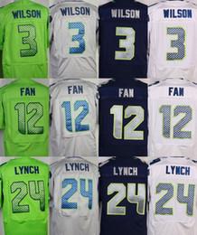 Wholesale Seattle Elite Mens Seahawks jerseys rugby football jerseys LYNCH FAN SHERMAN WILSON THOMAS GRAHAM white grey green navy