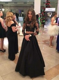 Wholesale See Through Lace Formal Dress - Sexy Black Two Pieces Prom Dress with Long Sleeves See Through Party Gowns Beautiful A Line Formal Pageant Evening Dresses