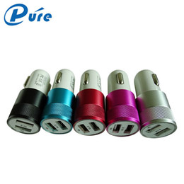 Wholesale Car USB Charger Mobile Phone Charger Universal Volt Amp Aluminum Car Charger for Apple iPhone iPad iPod Samsung Galaxy Motorola