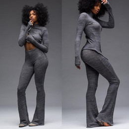 Wholesale 2016 Fashion Knitting bell bottoms Overalls Ladies Bodycon Jumpsuit Rompers Womens Jumpsuit Piece Set gray Sweater wide leg pants