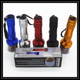 Wholesale Colorful Aluminum Torch Shape Electric Herbal Grinder Spice Crusher Herbal Handle Machines Metal Smoking Pipe Single Box Packing DHL Free