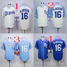 Wholesale 2016 Majestic Official Cool Base MLB Stitched KC Kansas City Royals Bo Jackson White BLue Gray Gold Jerseys Mix Order