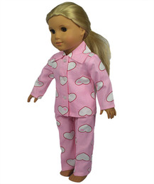 Wholesale 18 inch American Girl Doll Clothes Set Flower and Heart Pattern Cotton Material American Girl Doll Pajamas