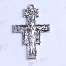 Ydlsp Size:38.5*25mm Jesus Cross Pendant antique Silver bronze alloy zinc Fit Bracelets Necklace 150pcs lot 2590