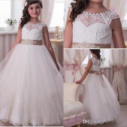 Wholesale beaded lace floor length flower girl dresses capped sleeves illusion back covered buttons flower girl dresses children