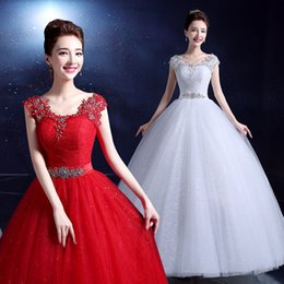 Scoop Neck Lace Tulle Wedding Dress With Crystal 2016 New Short Sleeves Wedding Gowns Lace Up