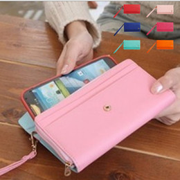 Envelope wallet case PU Leather crown handbag card pocket pouch Cover universal for iphone 5 6 6s plus samsung s5 s6 s7 edge with hand belt