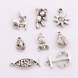 Wholesale 160Pcs styles Antique Silver Ladybug Teddy Bear Anchor Dog Fish Jesus Spacer Charm Beads Pendants Alloy Handmade Jewelry DIY LM5