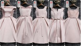 Bateau Neckline Real Photos Bridesmaid Dresses 2017 Short Knee Length Bow Red Champagne Gray Pink Wedding Party Gowns Fast Shipping