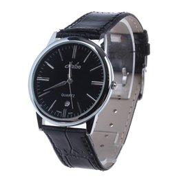 Wholesale New Hot selling Men s Ultrathin Analogue Quartz Leather Wrist Watch w Calendar Display