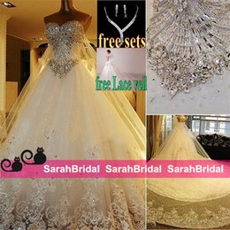 2019 Bridal Gowns Sparkly Full Length Corset and Tulle Princess Wedding Dresses Luxury Cathedral Train Plus Size Bridal Gowns Actual Image