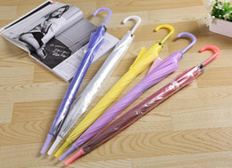 Wholesale Cheap Plastic Umbrellas - very cheap 100pcs Clear Transparent Umbrella See Through Fashion Star Long Handle Umbrellas Beach Wedding Graceful Colorful Transparent
