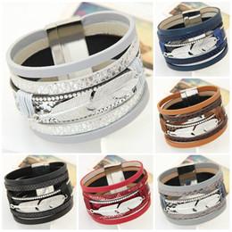 Wholesale Bracelets for Women Men Fashion Alloy Feather Leaves Wide Magnetic Multilayer Wrap Bracelets Jewelry Gift Leather Bracelets Bangles