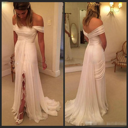 White Beach Wedding Dresses 2016 Off The Shoulder A line Chiffon Ruffles Boho Bridal Dresses Bohemian Wedding Gowns with Split