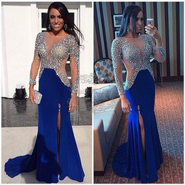 Glamorous Long Sleeve Royal Blue Prom Dresses 2016 Crystals With Slit Special Occasion Dresses Evening Formal