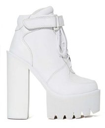 Jefrey Campbell Pole Vault Platform Boots White Genuine Leather High Heeled Chunky Heel Lace Up Women's Ankle Booties Shoes
