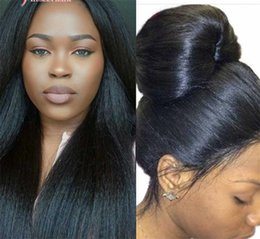 Wholesale Hot product Fashion Style Kinky Straight Wig Italian Yaki Human Hair Full Lace Wig Lace Front Wig For Black Women with bay hair