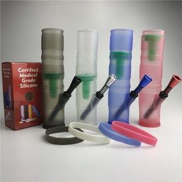 Wholesale 7 inch silicone water bong with plastic air tube metal water pipe double filter silicone oil rig for smoking