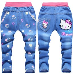 Wholesale new style spring and autumn children jeans fashion girl jeans denim pants top quality fashion pattern baby trousers Retail