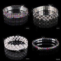 Wholesale Hot Sale Row Rhinestone Stretch Bangle Wedding Bracelet Bridal Jewelry Cheap High Quality Top Selling