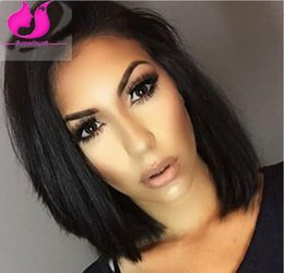 Wholesale Jet Black Short Brazilian Hair Silky Straight Full Lace Wigs With Bleached Knots Baby Hair Short Cut Bob Lace Front Wigs For Black Women