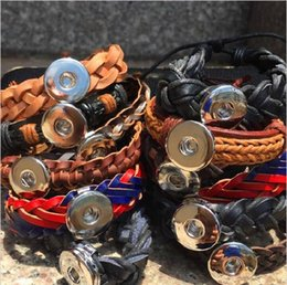 Wholesale mix styles pieces leather Snap Button Charm Chunk Ginger Interchangeable Jewelry Cuff Bracelets brand new