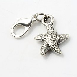 Wholesale MIC x29 mm Antique Silver Dancing Flake Star Starfish Sea Star Charms Heart Floating Lobster Clasps Charm for Glass Living C123