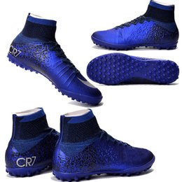 Wholesale MERCURIAL SUPERFLY CR SG PRO fit adult children s Artificial turf high soccer shoes Natural Hard turf with CR7 Outdoor kids soccer shoes
