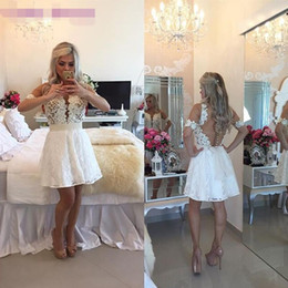 Wholesale 2016 New Elegant Lace Ivory Short Prom Homecoming Dresses Off the Shoulder Short See Through Sleeve Party Gown Sheer Sexy Back Pearls Belt