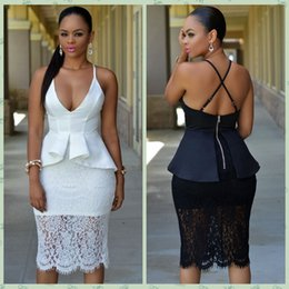 Wholesale New Plus size Bodycon Dresses White Black Crossover Straps Floral Lace Overlay Peplum Dress Sexy Fashion Club Dress Black Friday