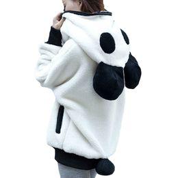 Wholesale Panda Hoodies Women Outwear Fluffy Cute Sweatshirt Zipper Warm Women Hoodie Jacket with Ear Lovely Funny Winter Coats Fleece Plus Size