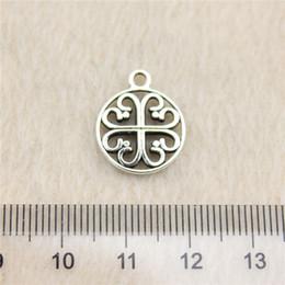 50Pcs 14mm antique Silver Toneflower round tag Charms Zinc Alloy DIY Handmade Jewelry Pendants Wholesale