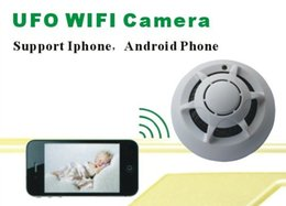 Wholesale 5pcs Free DHL Smoke Detector UFO WiFi IP Camera Remote Smoke Detector Video Recorder P2P for iPhone Android phone