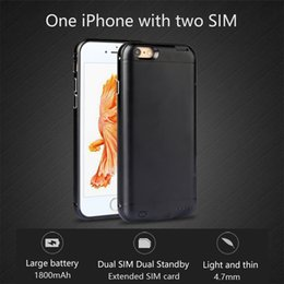 Wholesale Bluetooth Dual SIM Dual Standby Adapter For iPhone plus Metal Frame Phone Cases Shell Ultra thin Back Clip Battery Power Supply GoodTalk