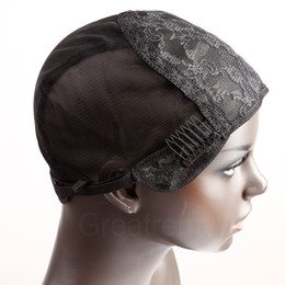 Greatremy Professional Wig Caps for Making Wig with Combs and Adjustable Straps Swiss Lace Black Medium Size
