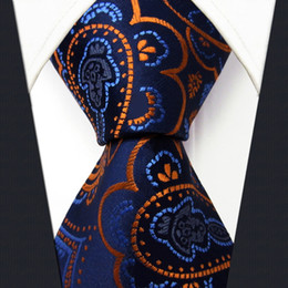 Q8 Floral Azure Golden Yellow Royal Blue Mens Necktie Ties 100% Silk Jacquard Woven
