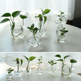 Wholesale Glass vases flower pots planters crystal glass pots home decoration wedding glass pots fish tank desktop vases clear home pots