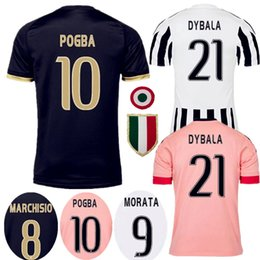 Wholesale Thai Quality JUVentus Soccer Jersey DYBALA Jerseys shirt CHIELLINI POGBA MARCHISIO DANI ALVES Football Kits Higuain shirts